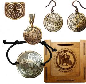 """Jewelry set """"Falcon"""" No. 2 in a gift box"""