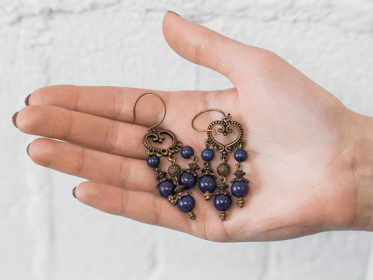 """Earrings """"Princely"""" No. 1 with lapis lazuli"""
