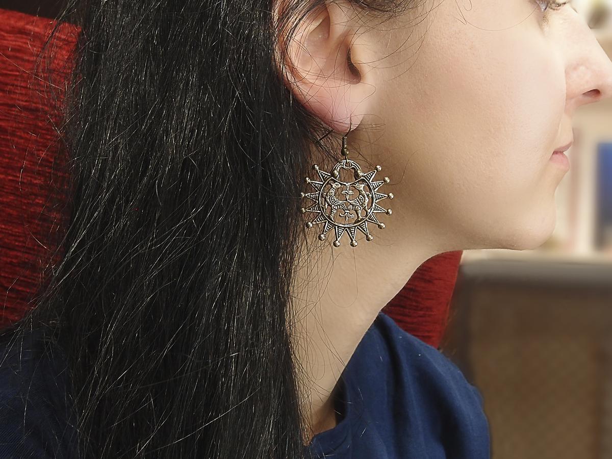 """Earrings slotted """"Terekhovskie birds"""""""