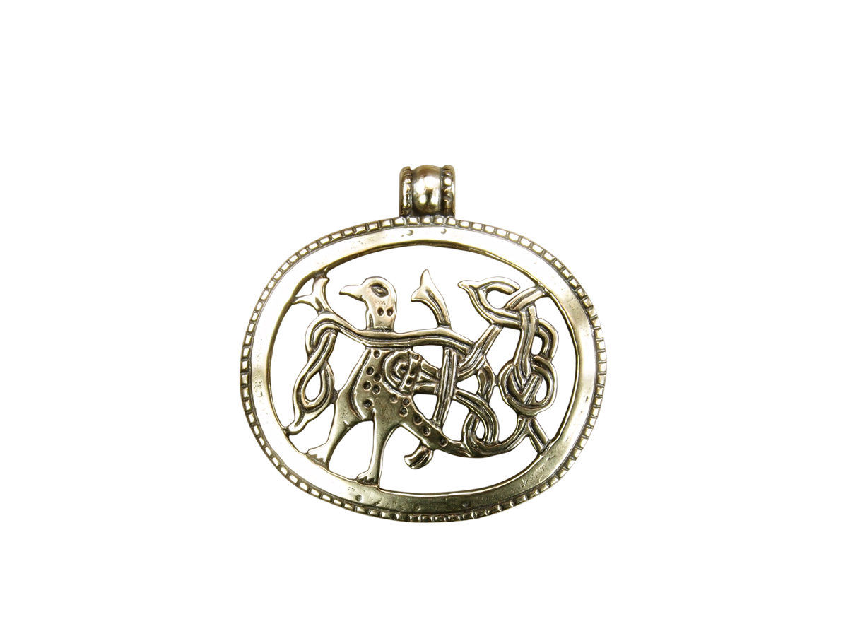 "Slotted pendant ""Bird with intertwined tail"""