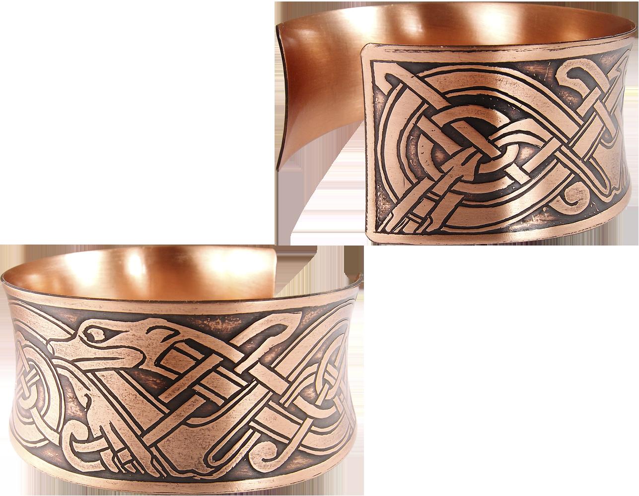 """Wide concave bracelet """"Celtic dogs"""""""