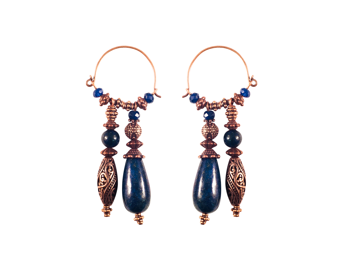 Double earrings with lapis lazuli