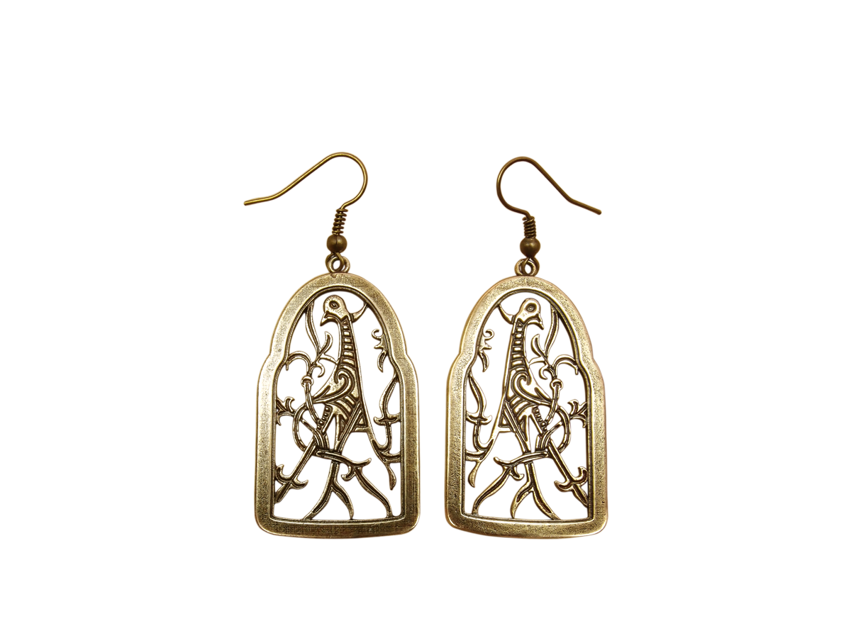 "Earrings slotted ""Bird with a twisted tail"""