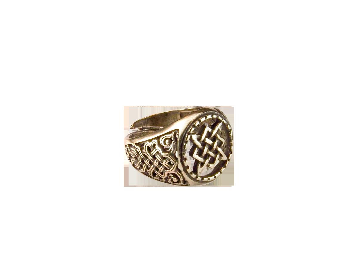 Кольцо узорчатое прорезное «Квадрат Сварога»