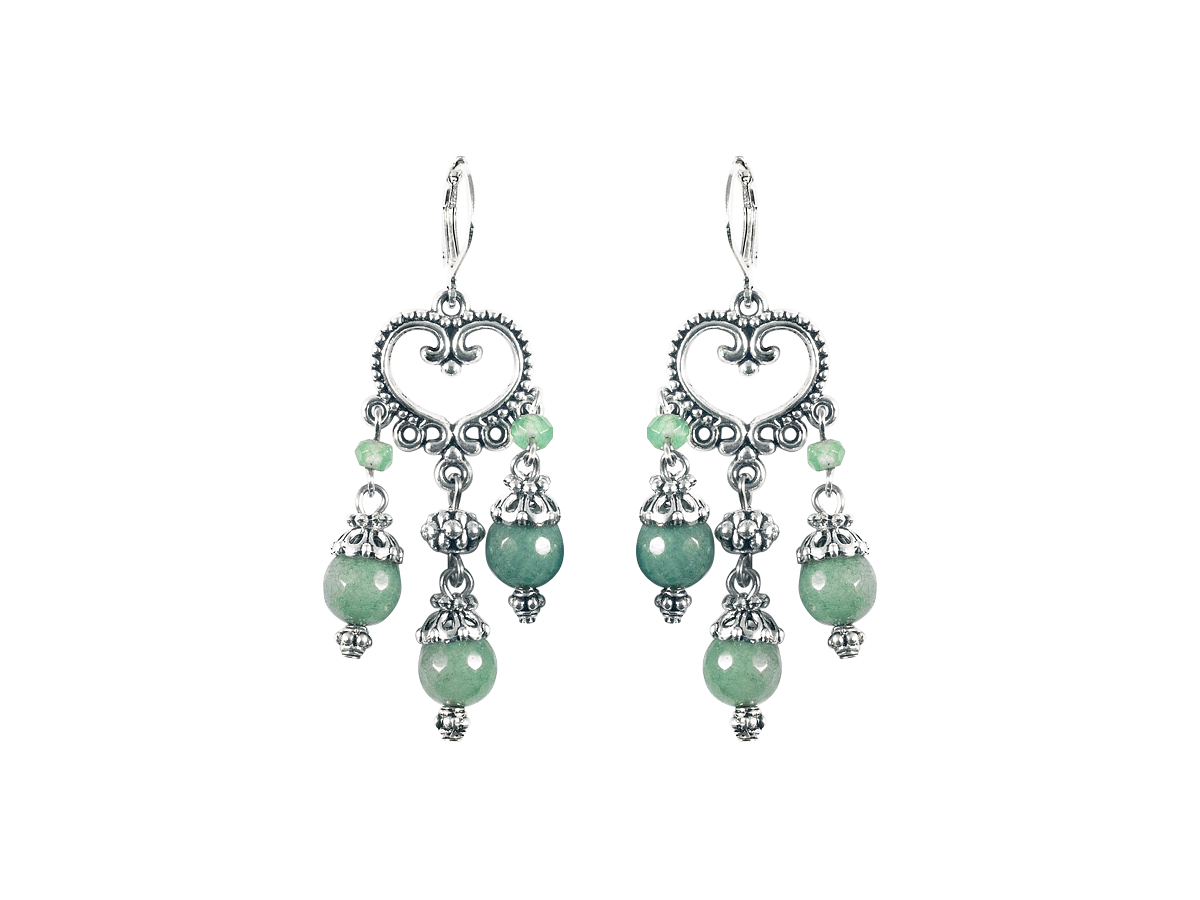 """Earrings """"Princely"""" No. 3 with chrysoprase"""