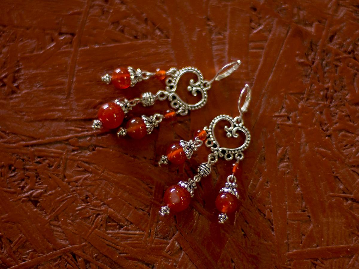 "Earrings ""Princely"" No. 2 with carnelian"